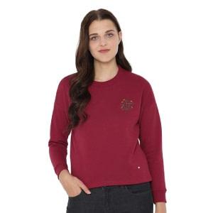 Allen Solly Maroon Color Women Sweatshirt